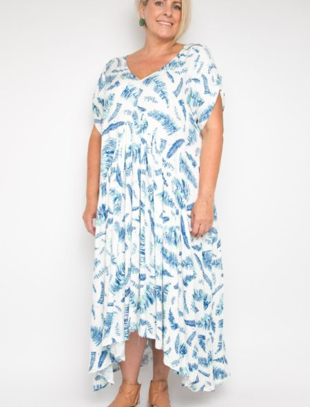 Leaf print peak maxi dress