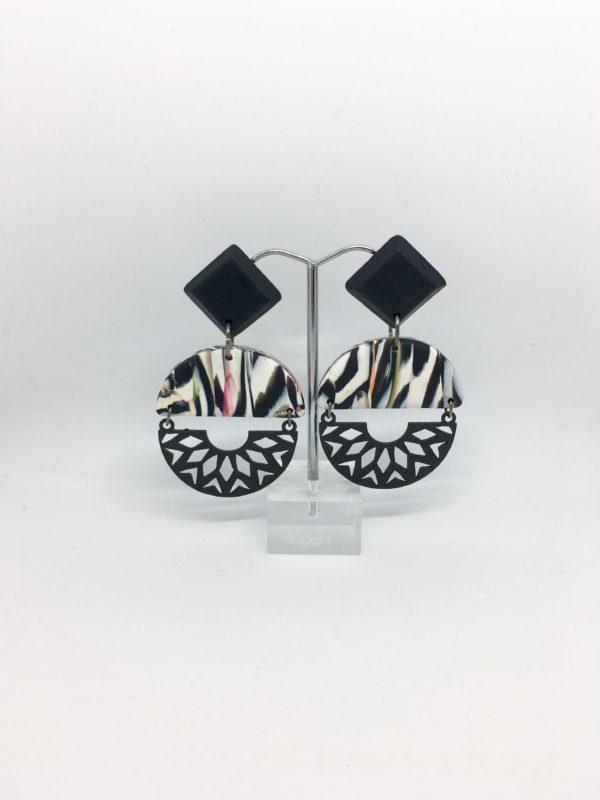 Monochrome drop earrings