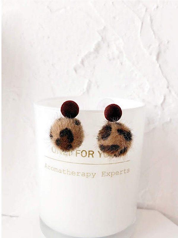 leopard Pom Pom earrings short
