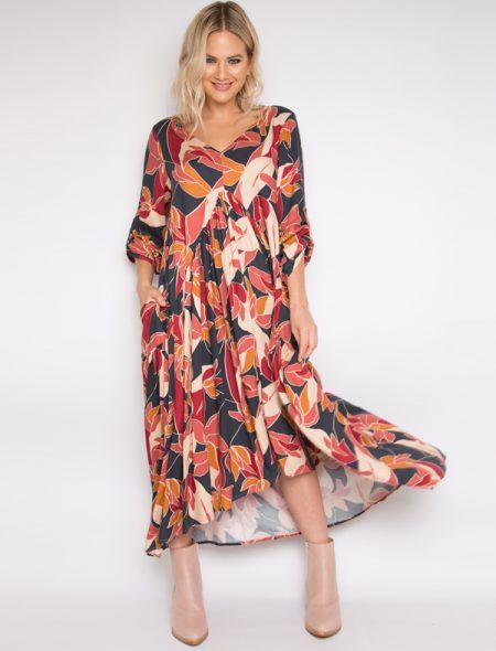 Autumn leaf maxi dress