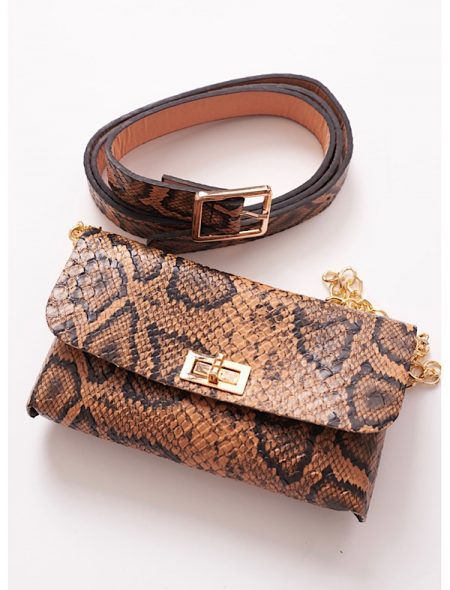Belt purse in brown snake