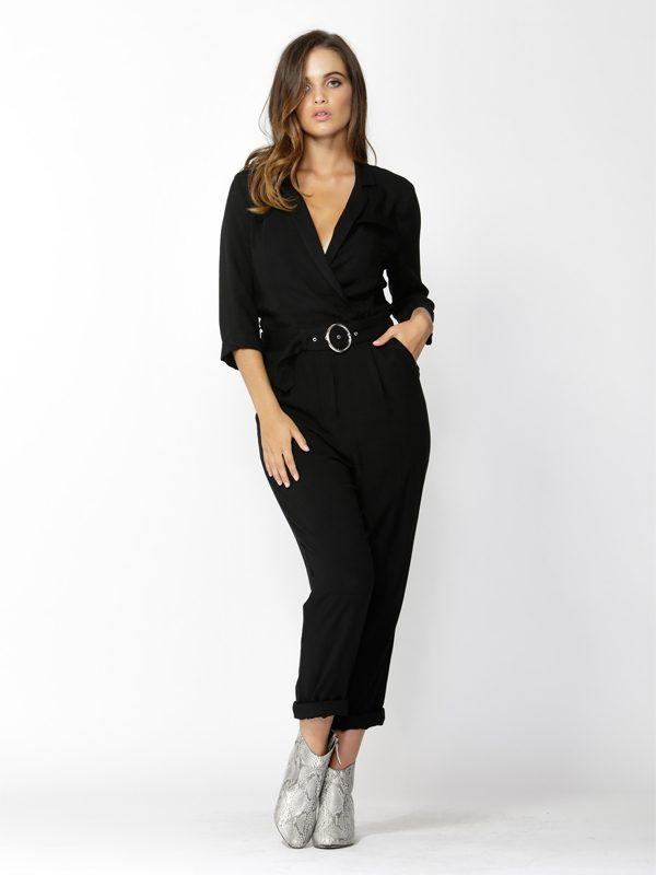 Classic black jumpsuit - Front view