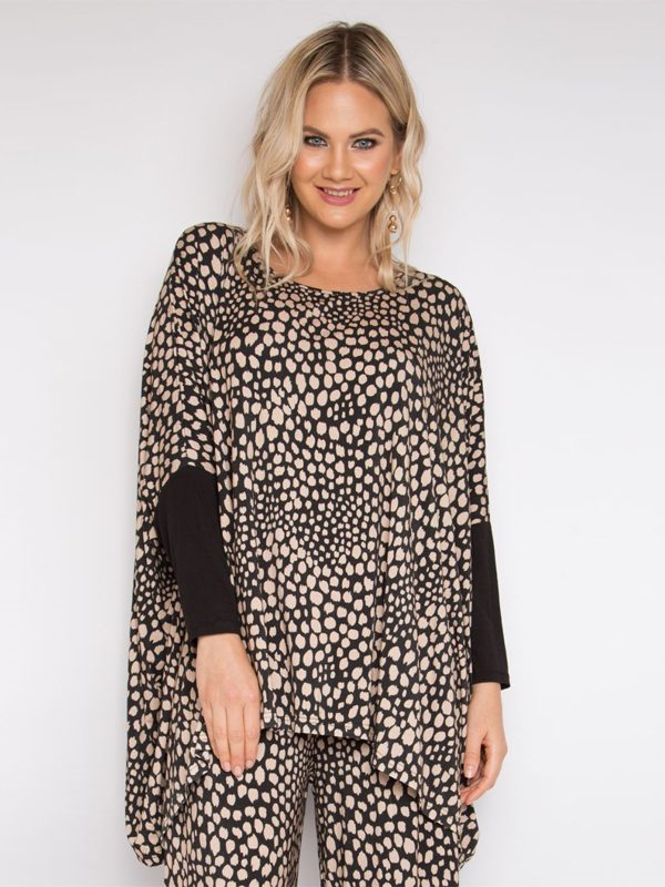 Drape Top in winter tones plus size with long sleeves