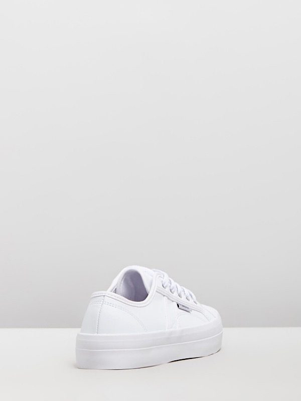 white sneakers back view