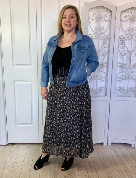 Floral midi skirt with denim jacket and belt