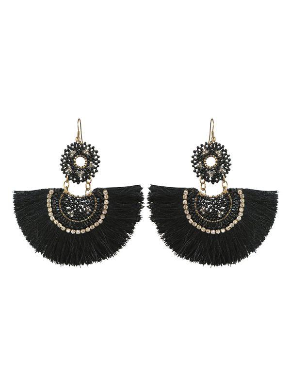 Fringed earrings black