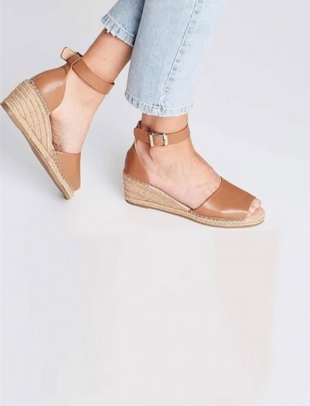 Tan Espadrille Summer Wedges