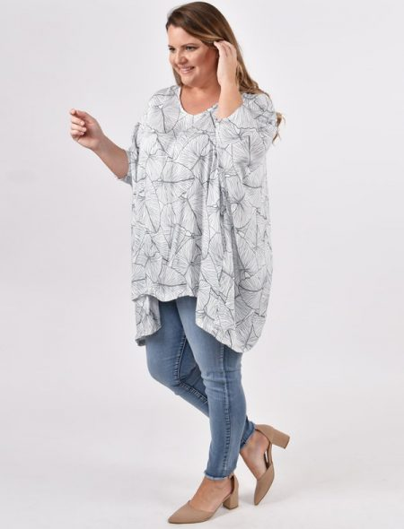 Leaf Print Drape Top side view