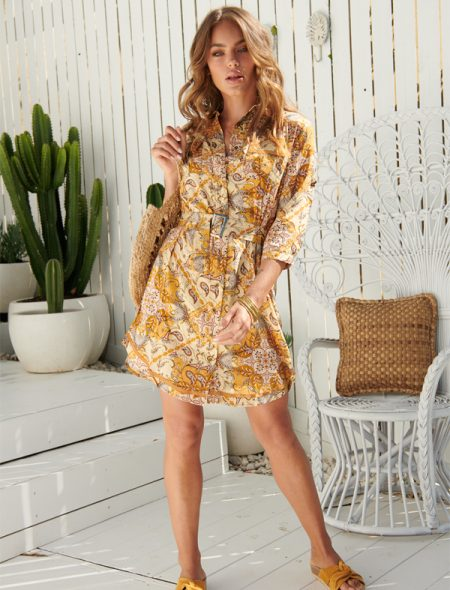 Paisley shirt dress front view