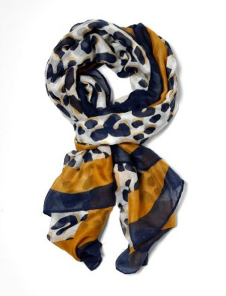 Spring scarf blue and mustard