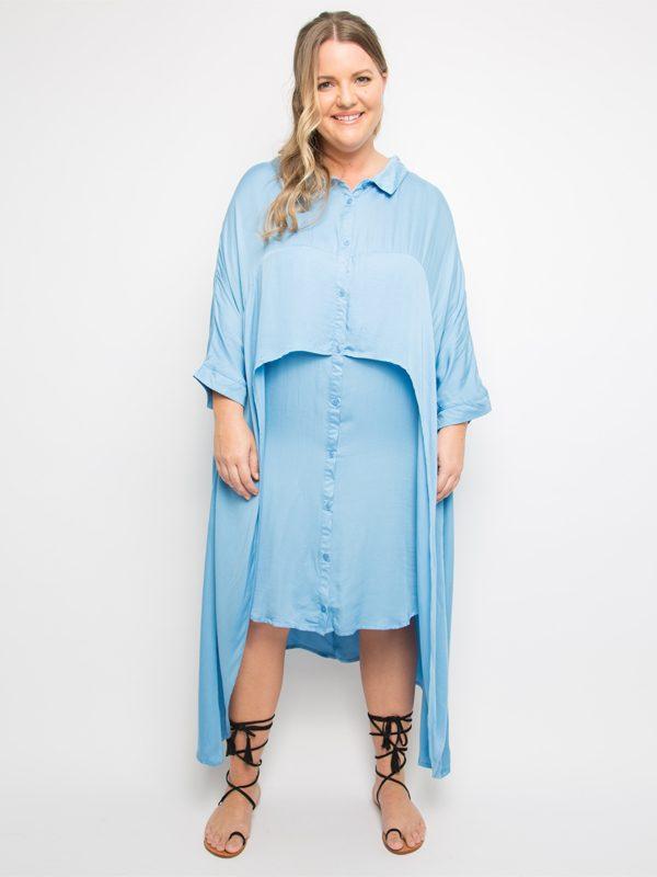 cascade shirt dress front