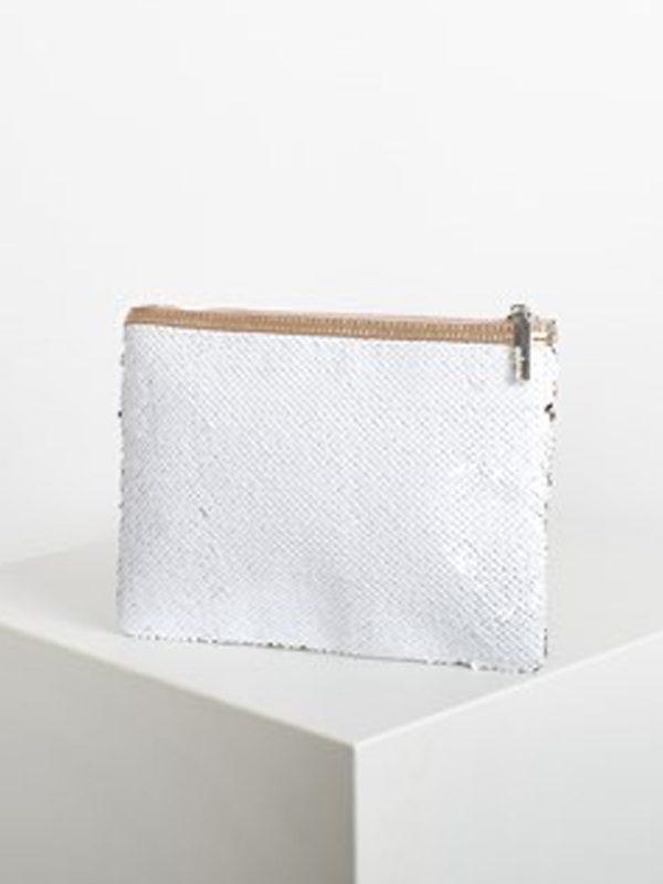 Sequin clutch purse - white