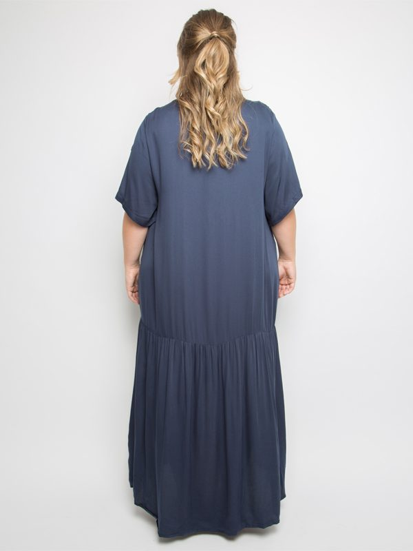 Peak maxi dress in deep navy back
