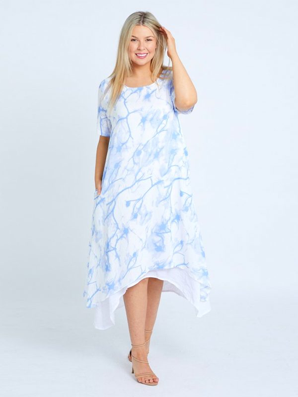 Tiered cotton dress blue front