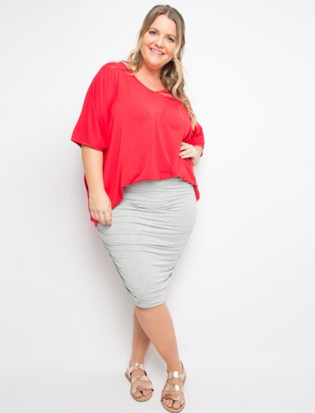 hi lo bamboo top in red tucked