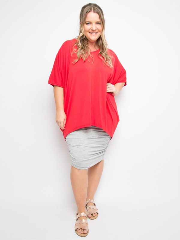 hi lo bamboo top red curvy