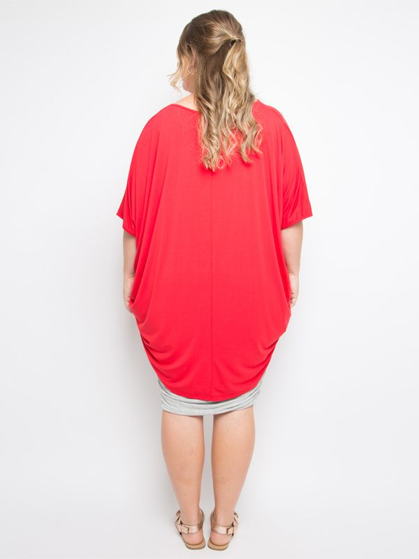 hi lo bamboo top red curvy back