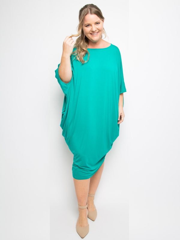 miracle dress in peacock green