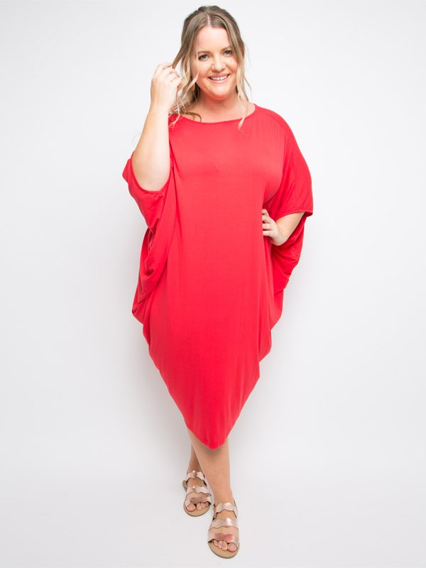 miracle dress in red curvy reversed
