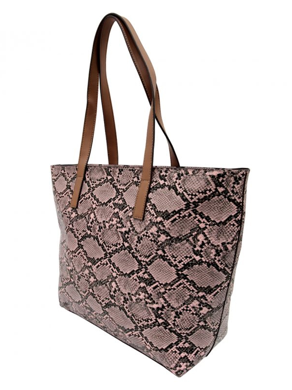 Reptile tote pink side