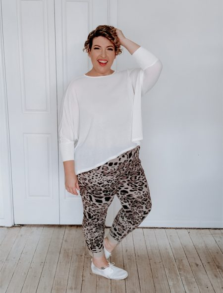 Everyday knit top and Leopard jeggings side view