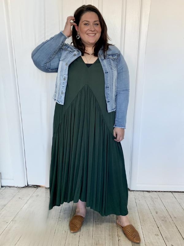 Peak maxi dress with Frayed denim jacket