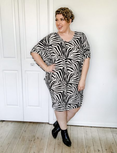 Zebra Drape Dress Side
