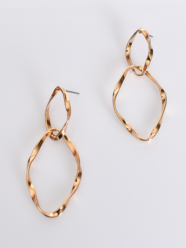 Gold Twisted Link Earrings