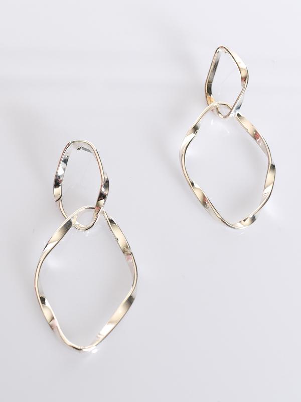 Silver Twisted Link Earrings