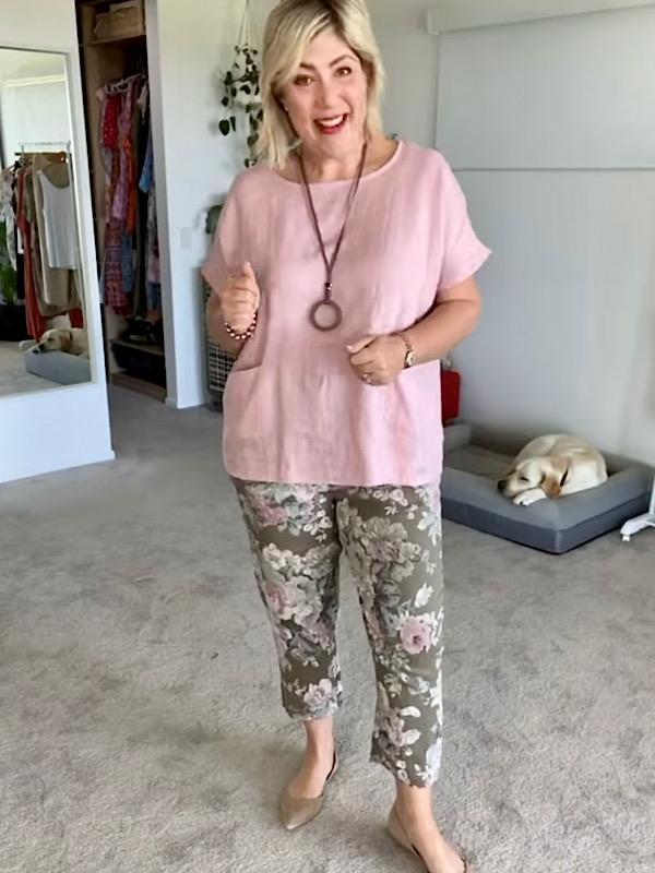 Florence pants - khaki with pink linen top