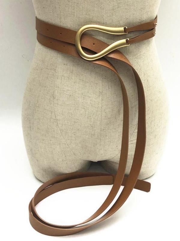Wrap belt tan closeup
