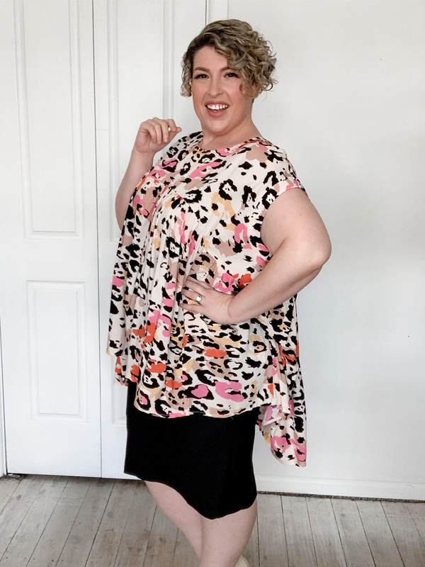 Bright leopard top side view