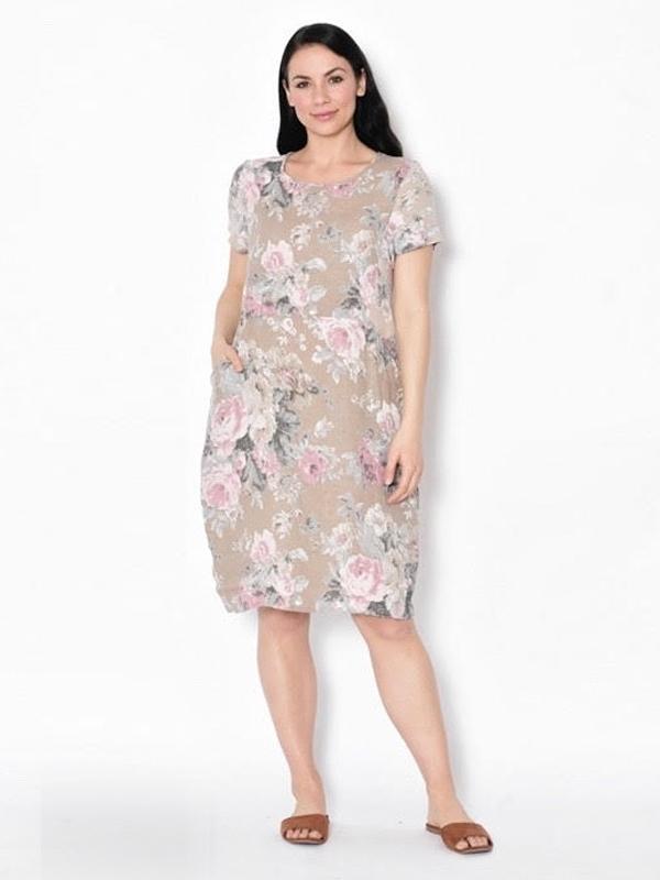 Florence linen dress - beige front