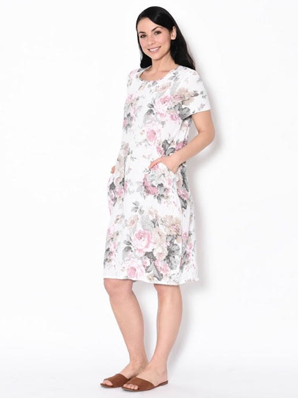 Florence linen dress - white side