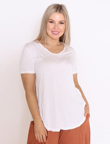 White Tee Front View