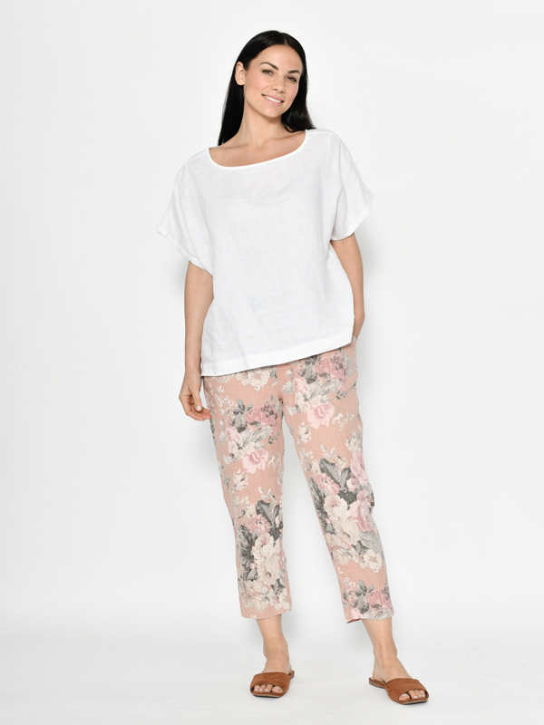 Florence linen pants - pink front
