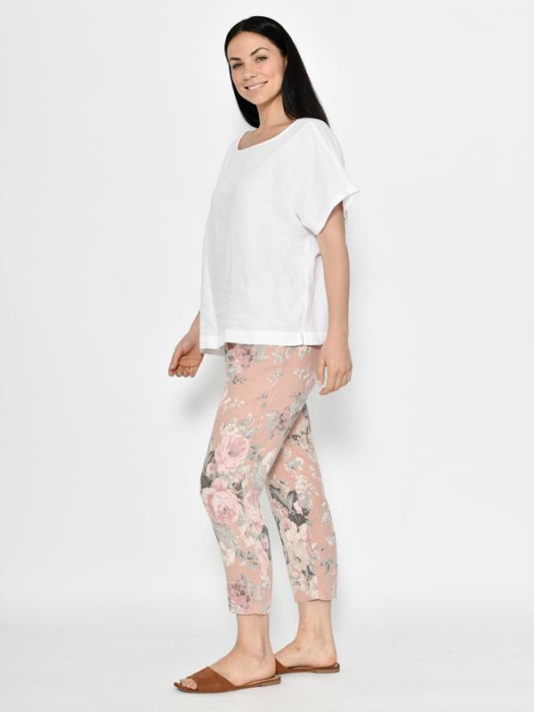 Florence linen pants - pink side