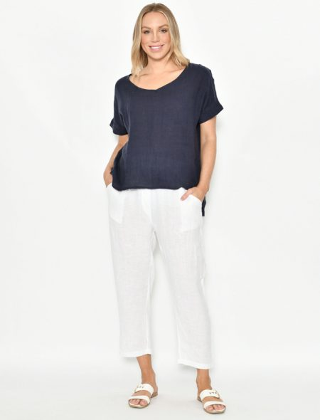 Linen Top Navy Front View