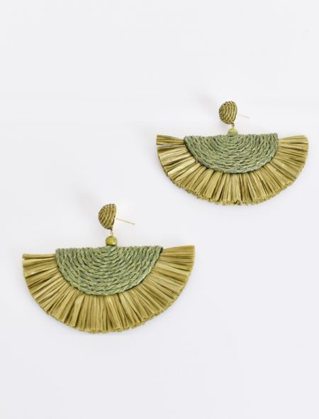 Raffia Earrings Khaki