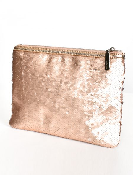 Sequin clutch - rose gold