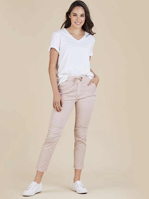 Jogger jeans pink front