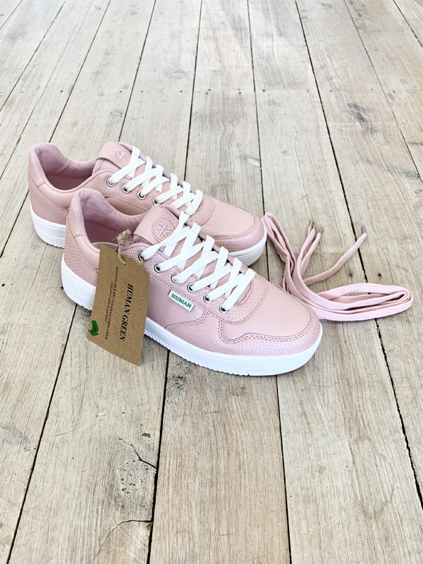 Recycled leather sneakers with tie