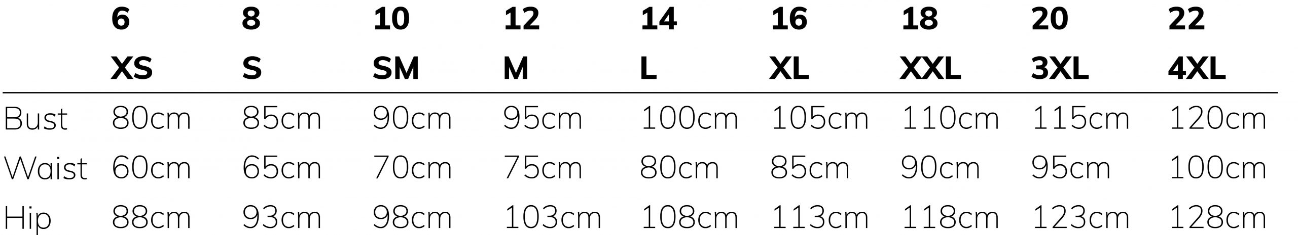 Betty Basics size guide