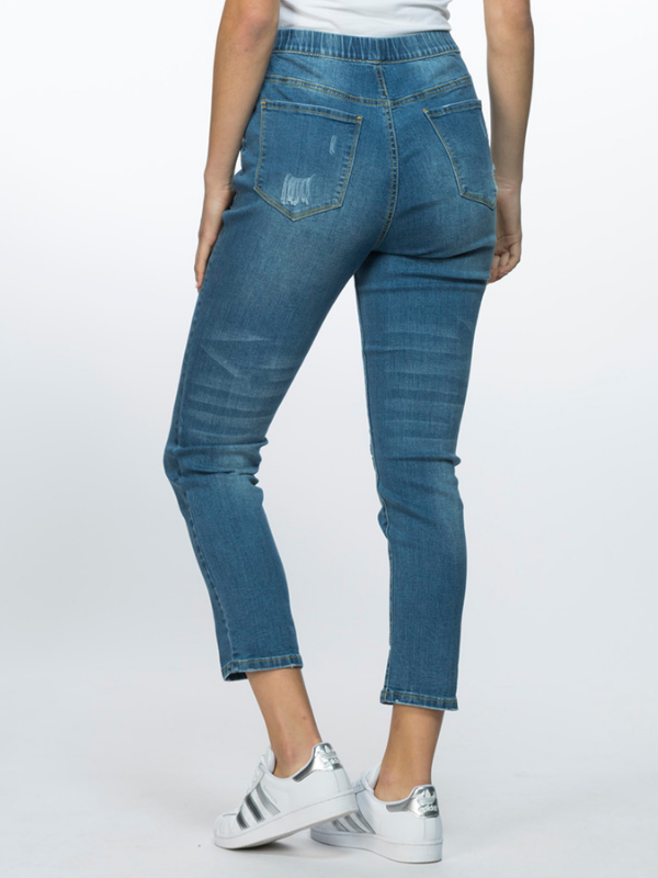 Distressed Jeans back side view