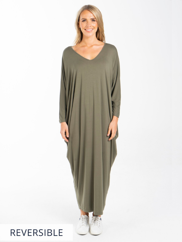 LS Maxi Miracle Dress Khaki