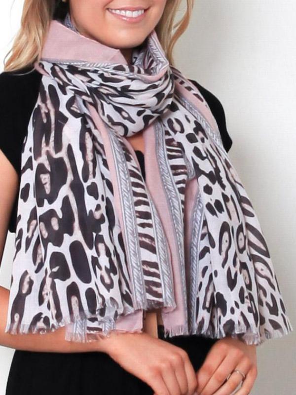 Pink Leopard Scarf Closeup