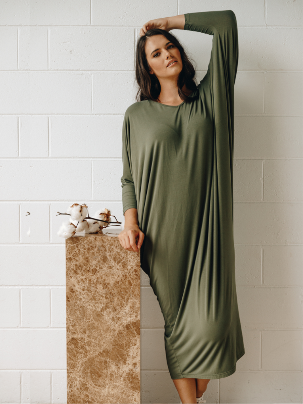 Winter maxi miracle dress khaki