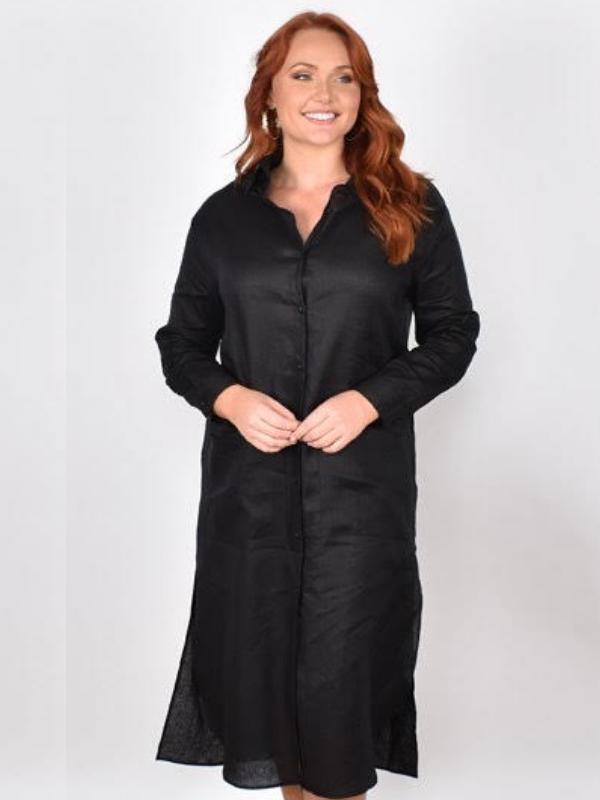 Classic linen dress black