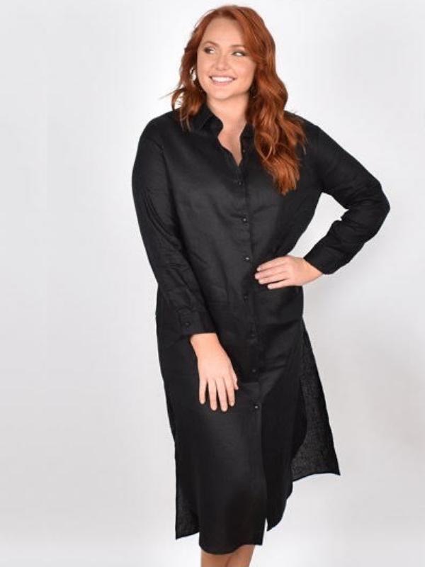 Classic linen dress front