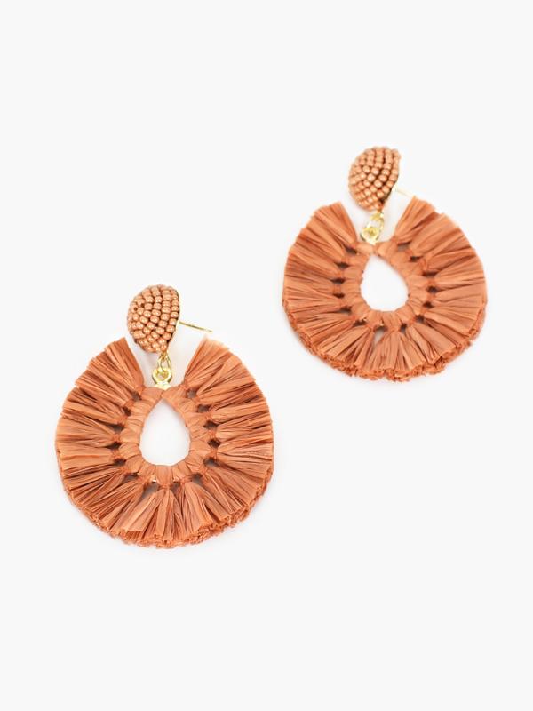 Pop of colour earrings tan